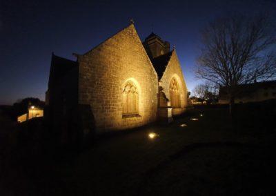 chapelle saint tugen de primelin éclairée aux LED